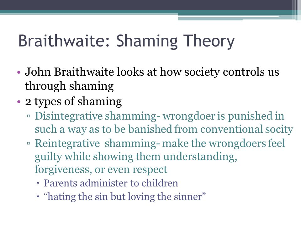 Braithwaite: Shaming Theory