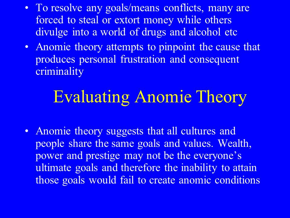 Evaluating Anomie Theory