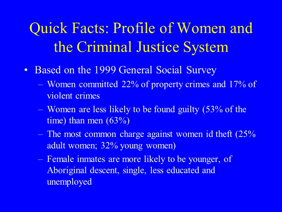 Quick Facts: Profile of Women and the Criminal Justice System