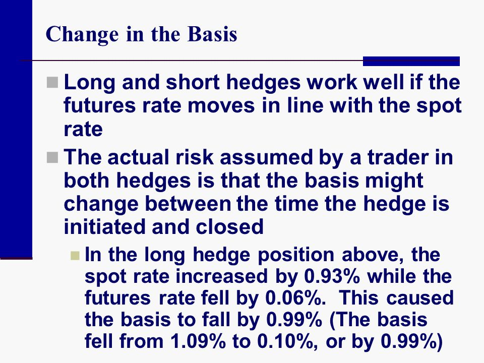 Change in the Basis Long and short hedges work well if the futures rate moves in line with the spot rate.