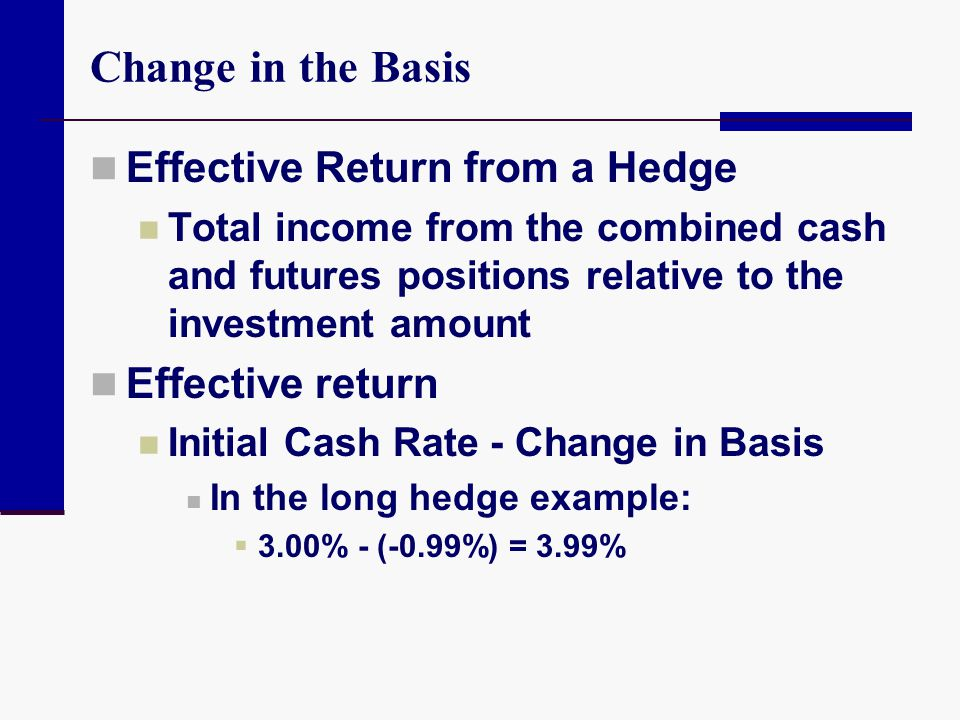 Change in the Basis Effective Return from a Hedge Effective return