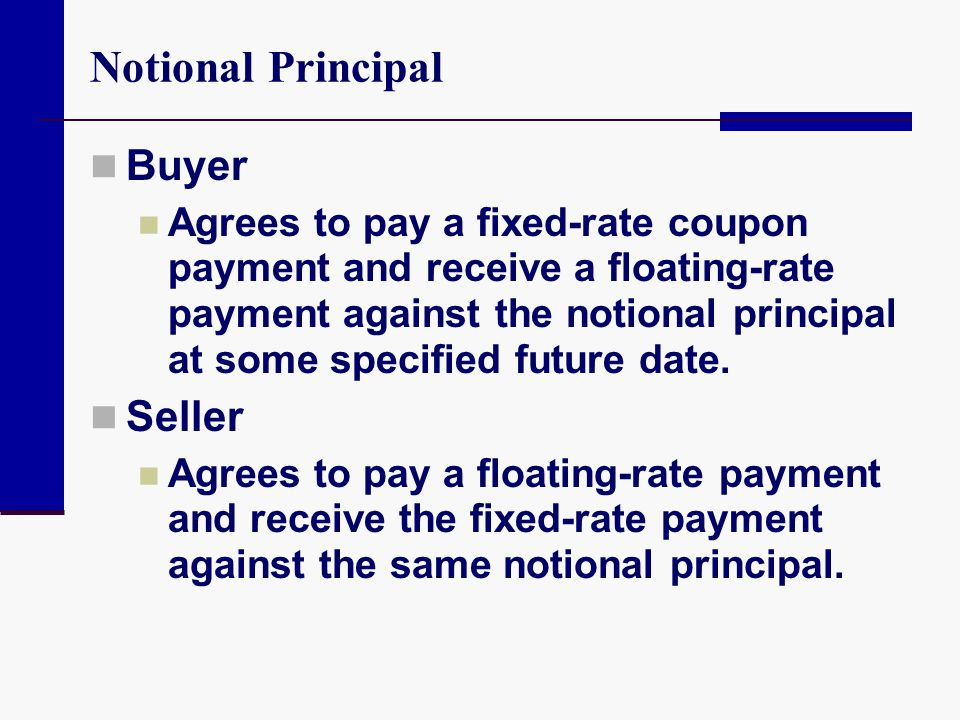 Notional Principal Buyer Seller