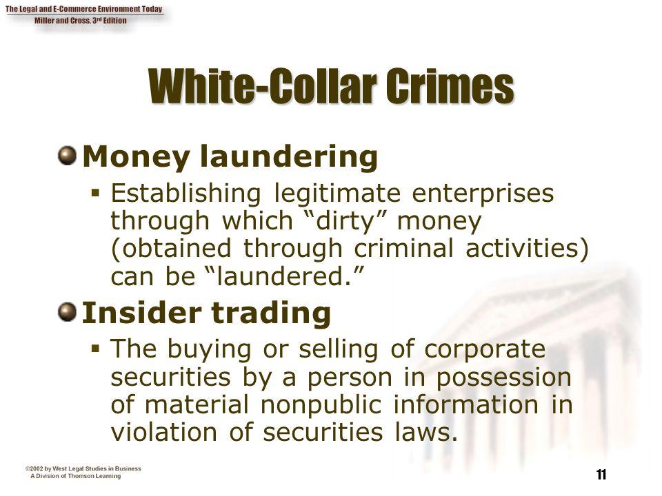 White-Collar Crimes Money laundering Insider trading