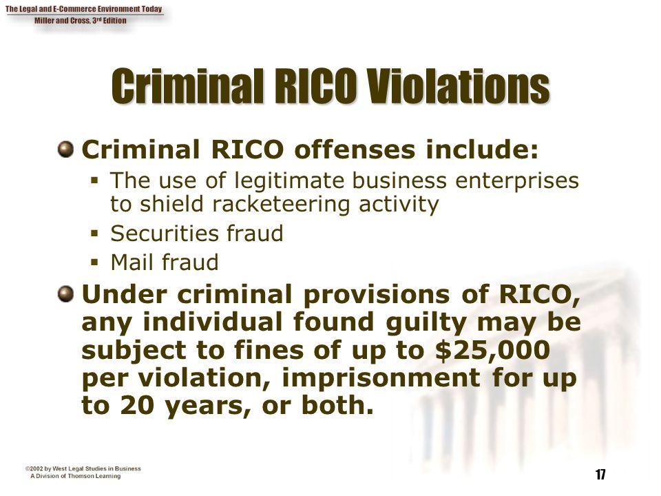 Criminal RICO Violations