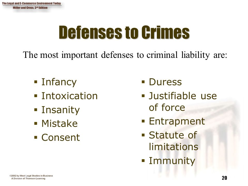 Defenses to Crimes The most important defenses to criminal liability are: Infancy. Intoxication. Insanity.