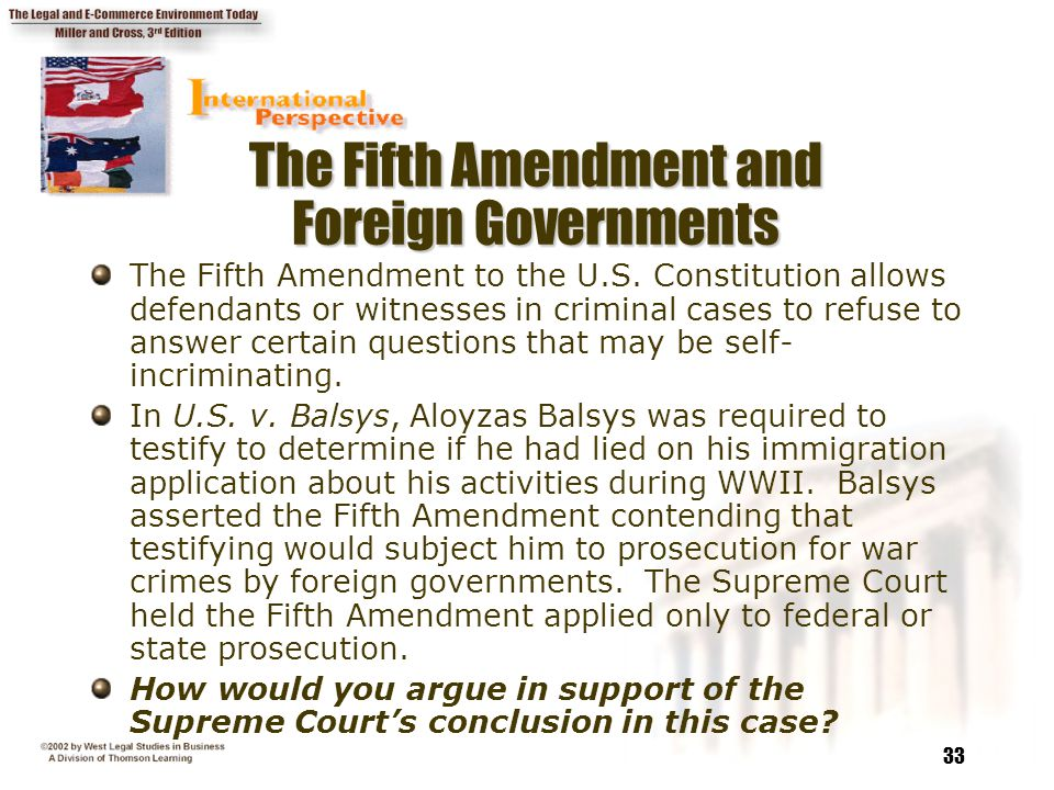 The Fifth Amendment and Foreign Governments