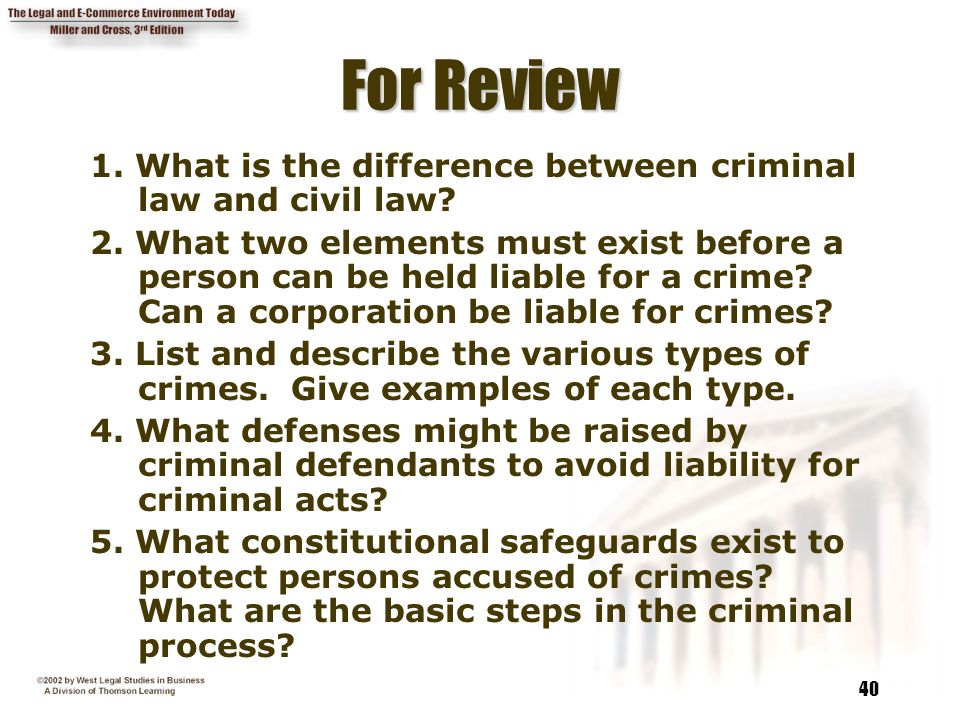 For Review 1. What is the difference between criminal law and civil law