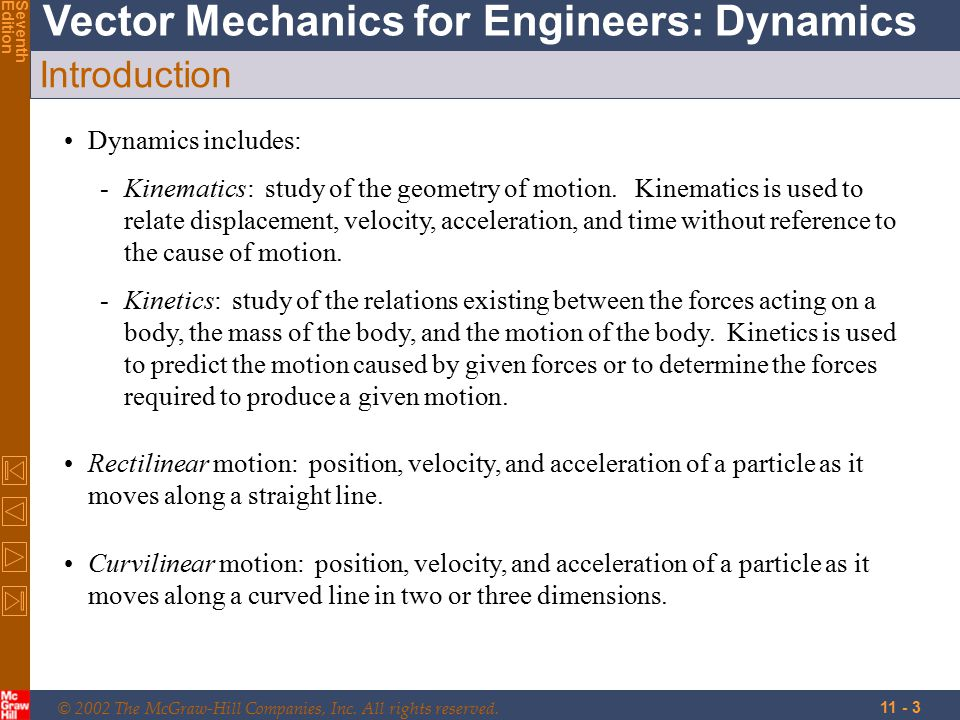 Introduction Dynamics includes: