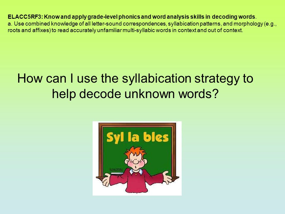 How can I use the syllabication strategy to help decode unknown words