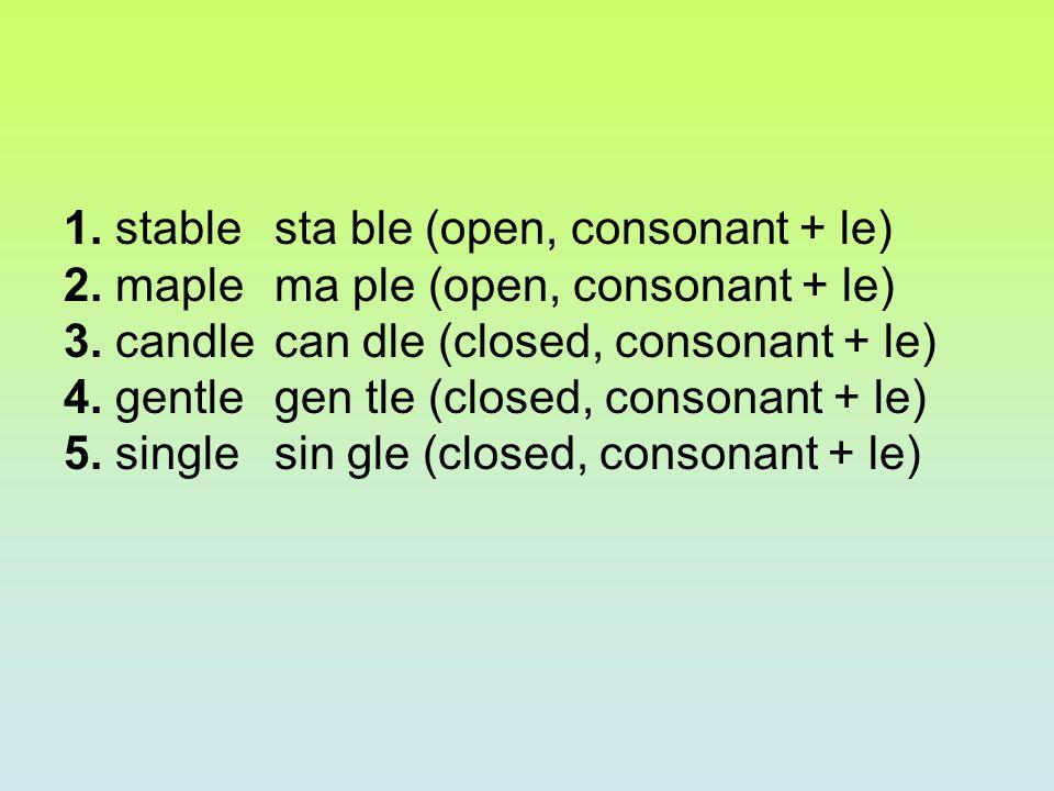 1. stable sta ble (open, consonant + le)