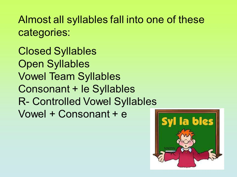 Almost all syllables fall into one of these categories: