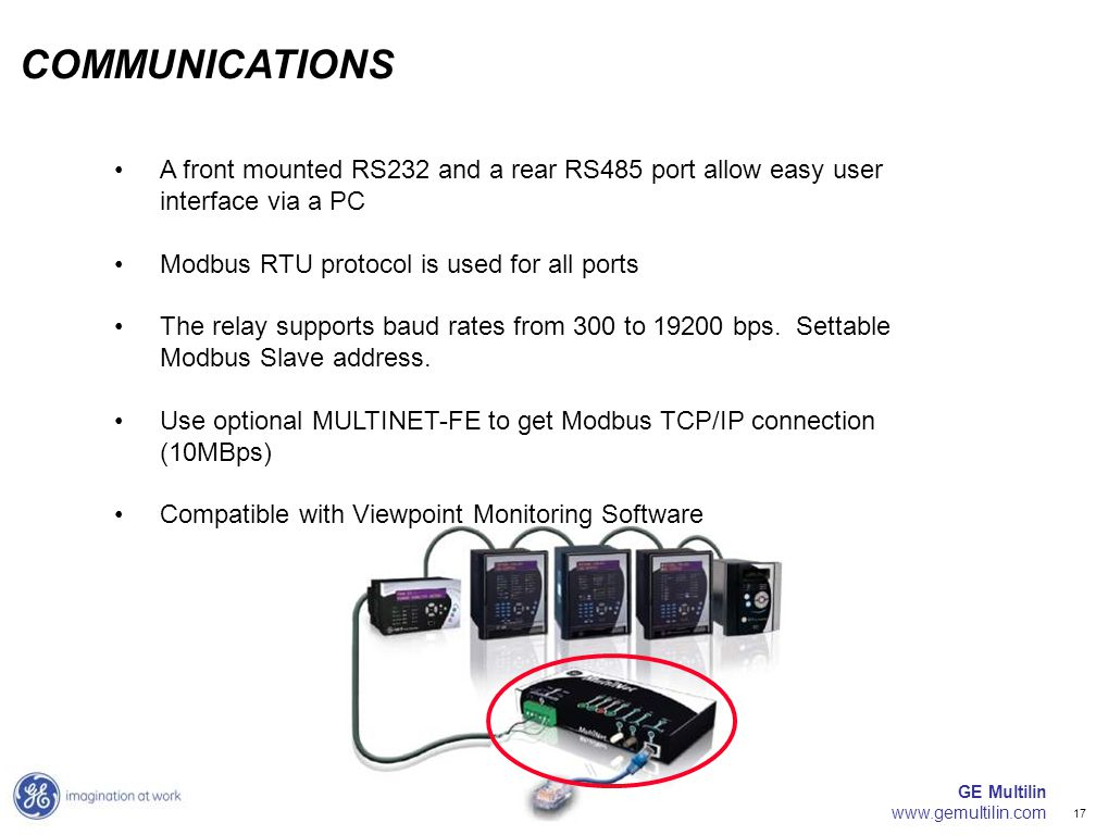 COMMUNICATIONS A front mounted RS232 and a rear RS485 port allow easy user interface via a PC. Modbus RTU protocol is used for all ports.