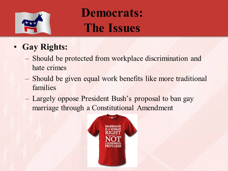 Democrats: The Issues Gay Rights: