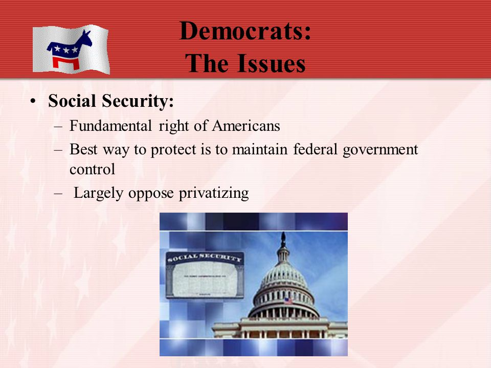 Democrats: The Issues Social Security: Fundamental right of Americans