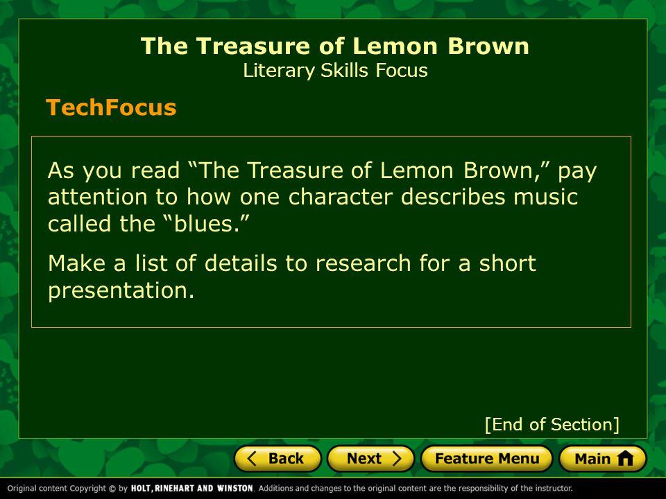 The Treasure of Lemon Brown Literary Skills Focus