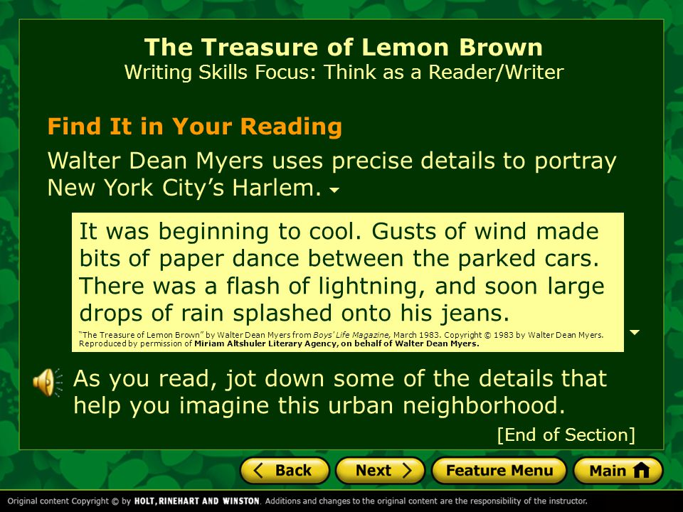 The Treasure of Lemon Brown Writing Skills Focus: Think as a Reader/Writer