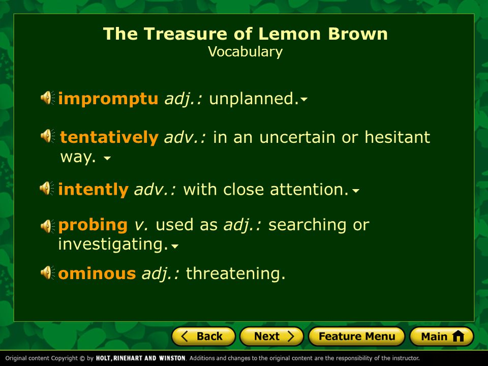 The Treasure of Lemon Brown Vocabulary