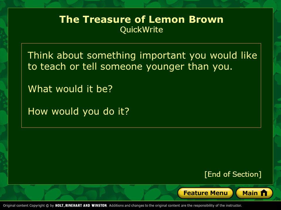 The Treasure of Lemon Brown QuickWrite