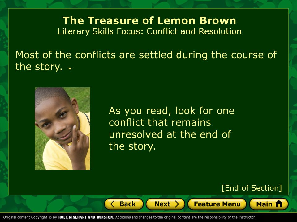 The Treasure of Lemon Brown Literary Skills Focus: Conflict and Resolution