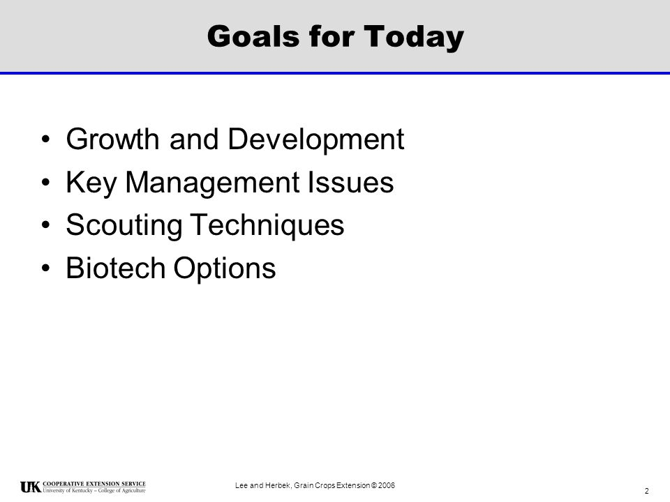 Growth and Development Key Management Issues Scouting Techniques
