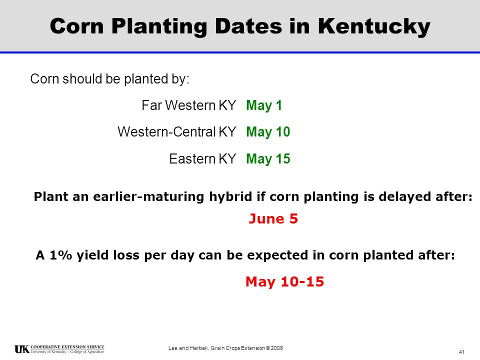 Corn Planting Dates in Kentucky