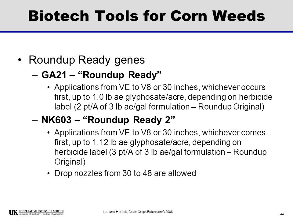 Biotech Tools for Corn Weeds
