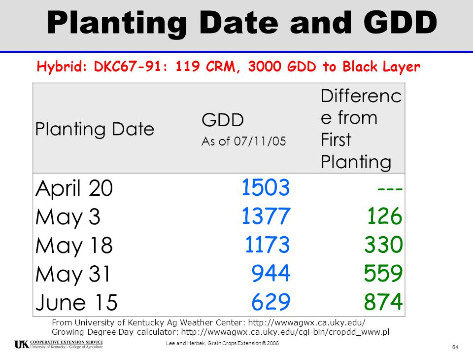 Planting Date and GDD April 20 1503 --- May 3 1377 126 May 18 1173 330