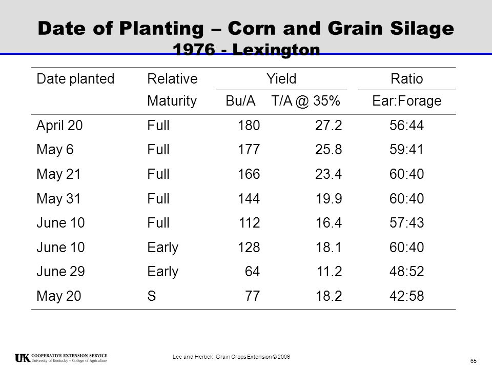 Date of Planting – Corn and Grain Silage 1976 - Lexington