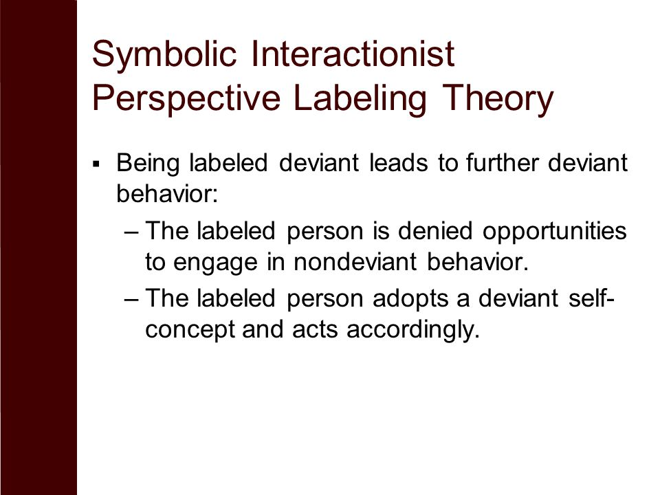 Symbolic Interactionist Perspective Labeling Theory