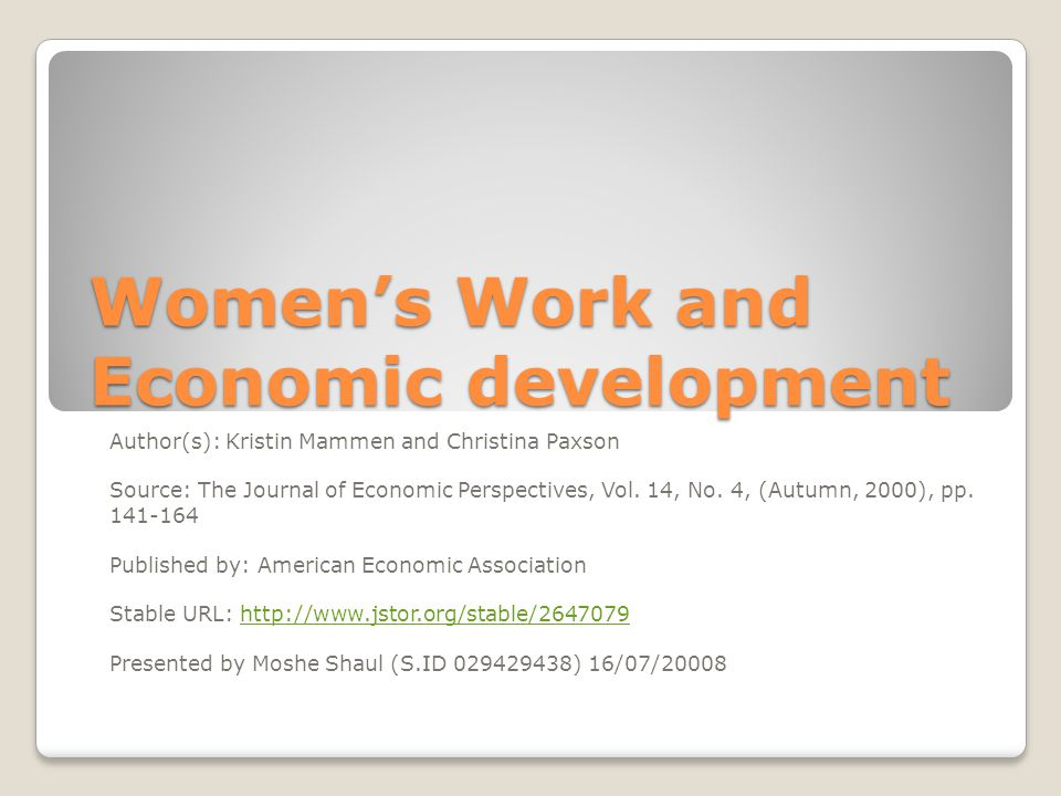 Women's Work and Economic development