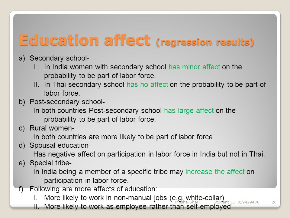 Education affect (regression results)