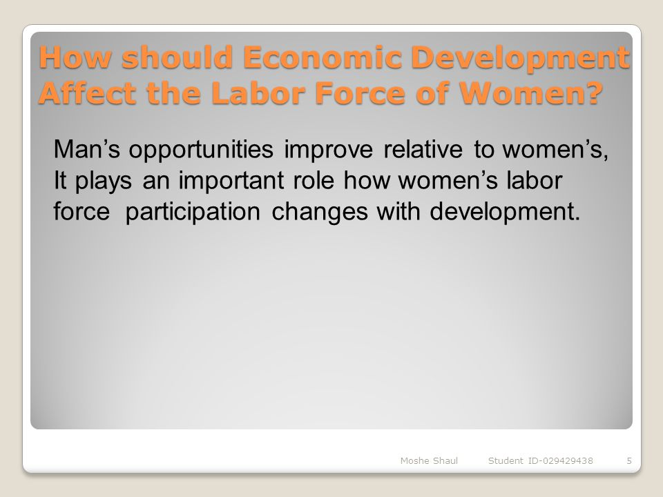 How should Economic Development Affect the Labor Force of Women