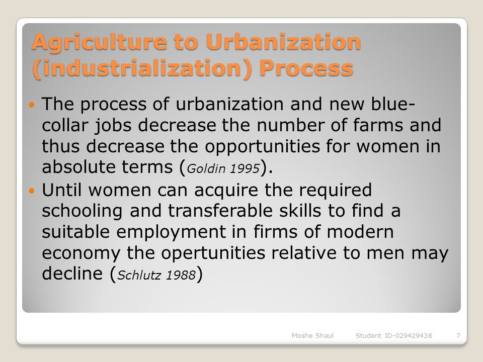 Agriculture to Urbanization (industrialization) Process