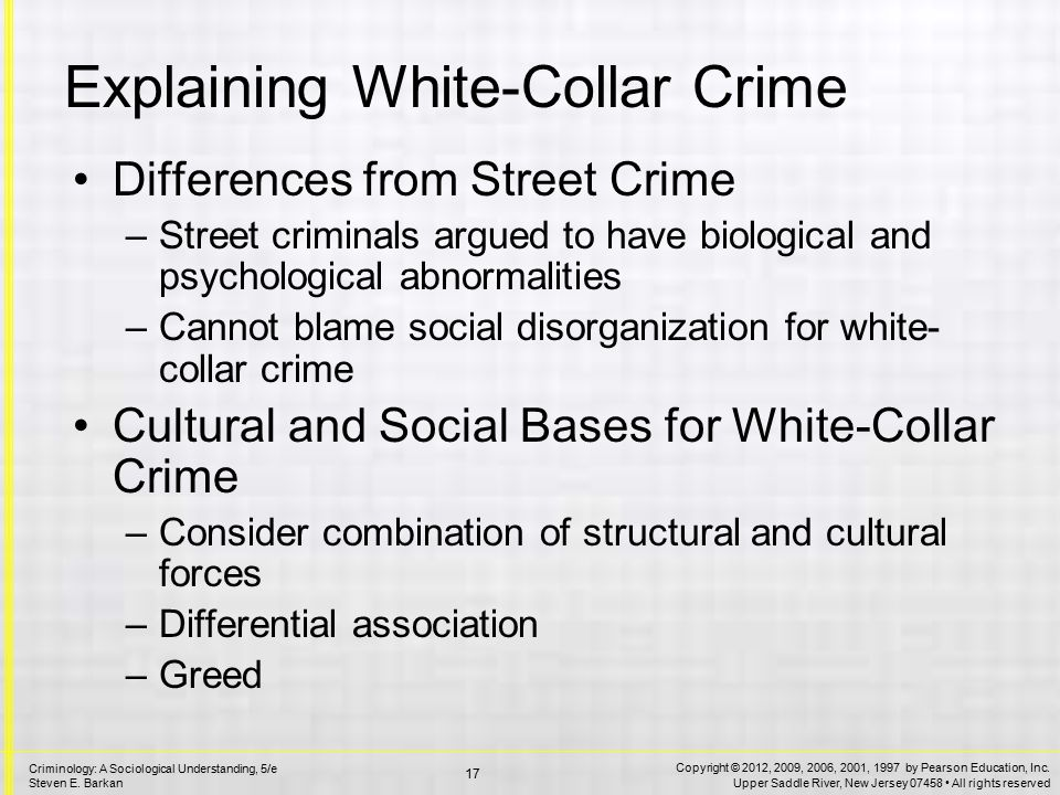 an introduction to the comparison of street crime and white collar crime Sociology: a brief introduction  (undated) the measurement of white-collar crime using uniform crime reporting (ucr) data clarke, ronald v (1997.