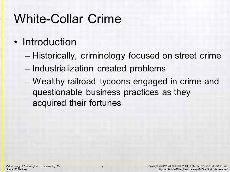 An introduction to white collar crime