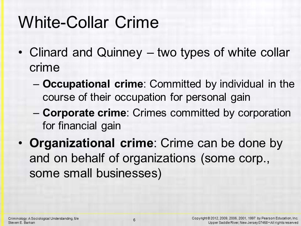 Occupational Crime Lawbreaking for Personal Gain