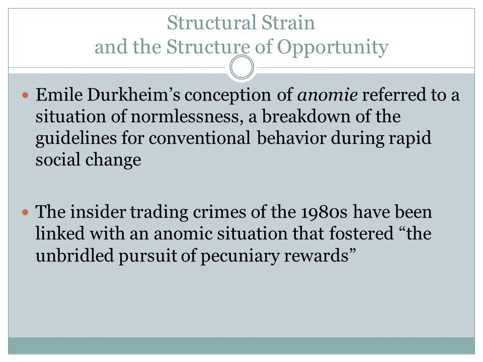 Structural Strain and the Structure of Opportunity