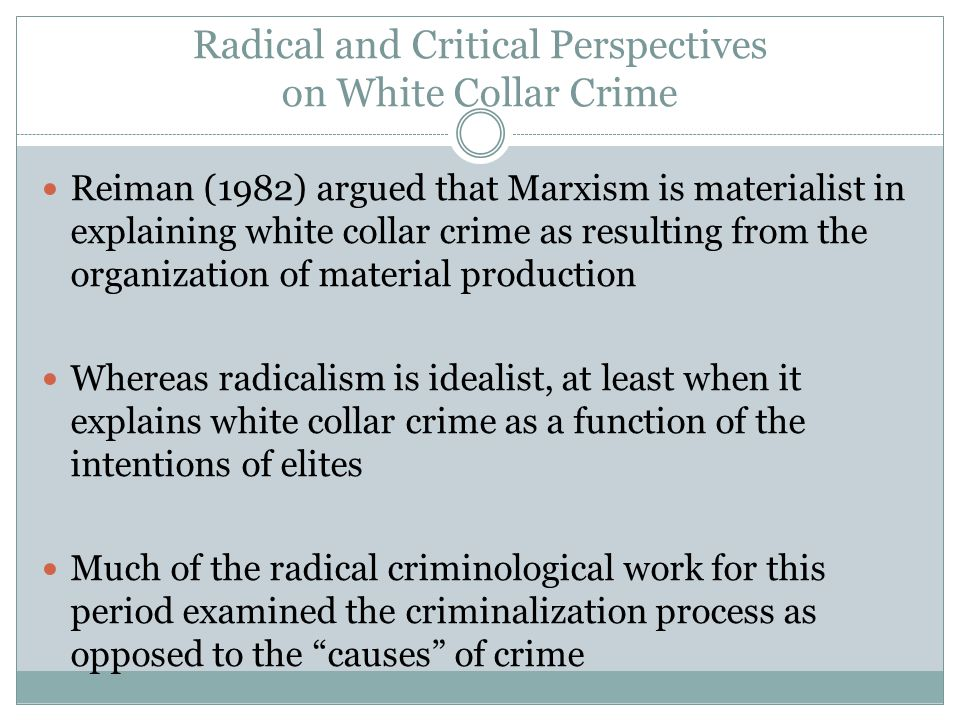 Radical and Critical Perspectives on White Collar Crime