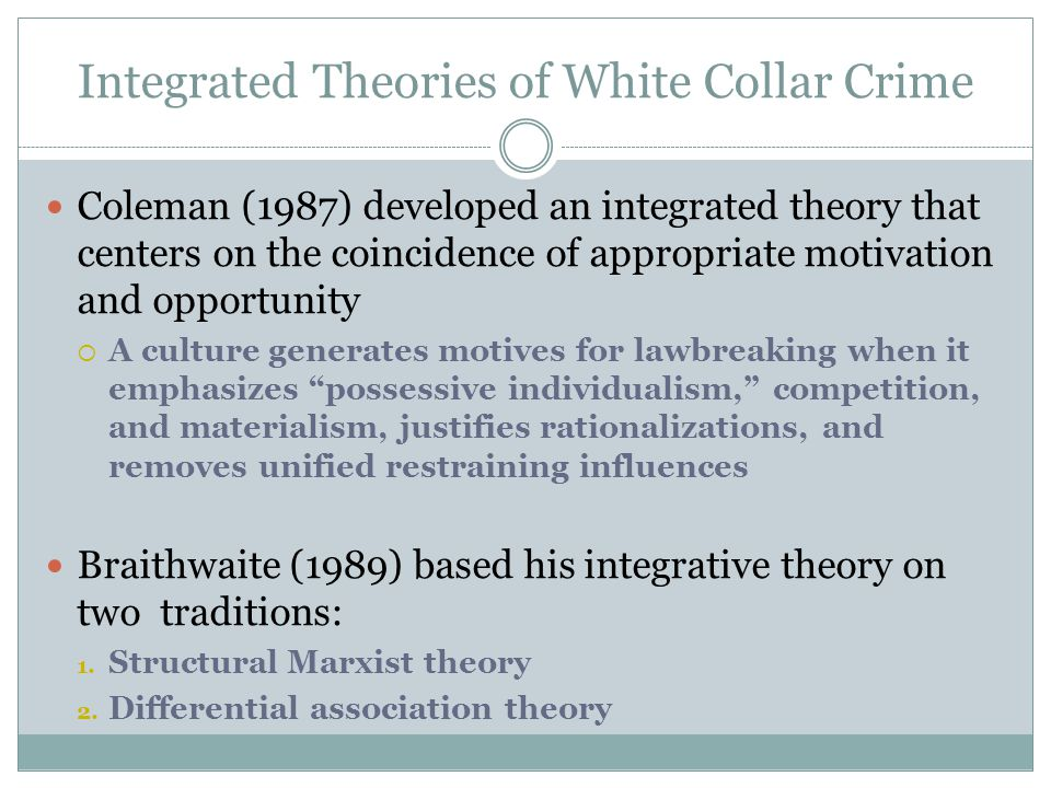 Integrated Theories of White Collar Crime