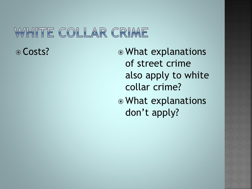 White collar crime Costs
