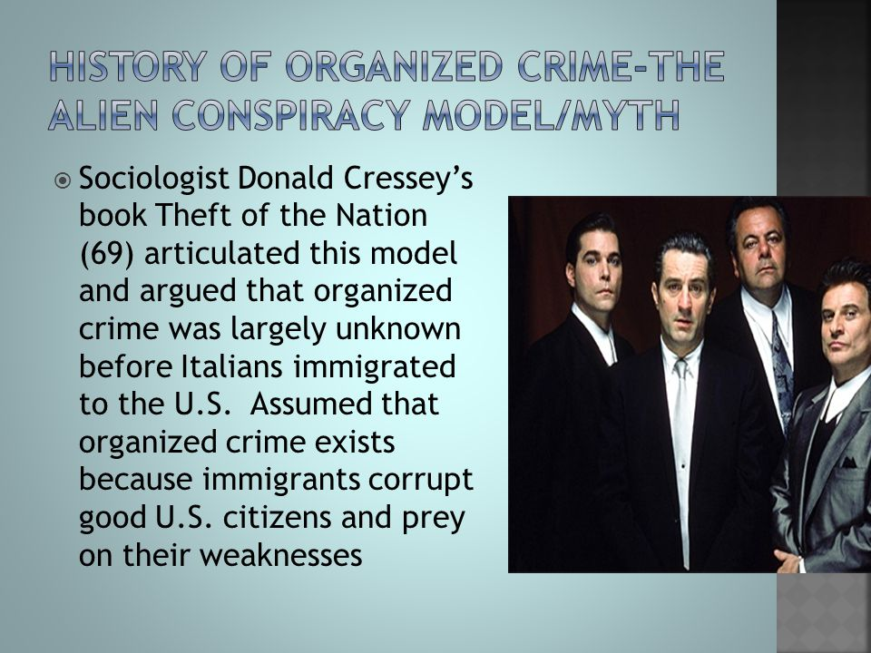 History of organized crime-the alien conspiracy model/myth