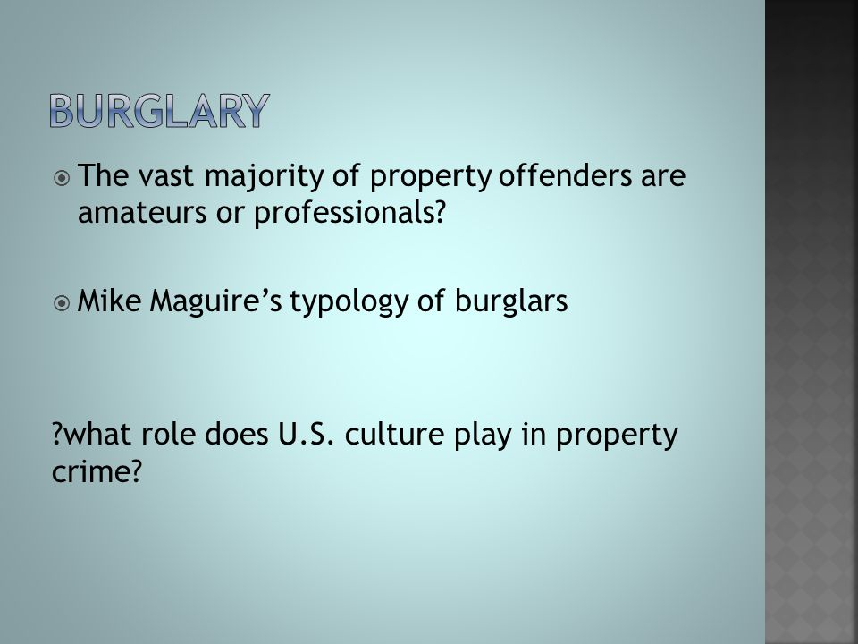 burglary The vast majority of property offenders are amateurs or professionals Mike Maguire's typology of burglars.