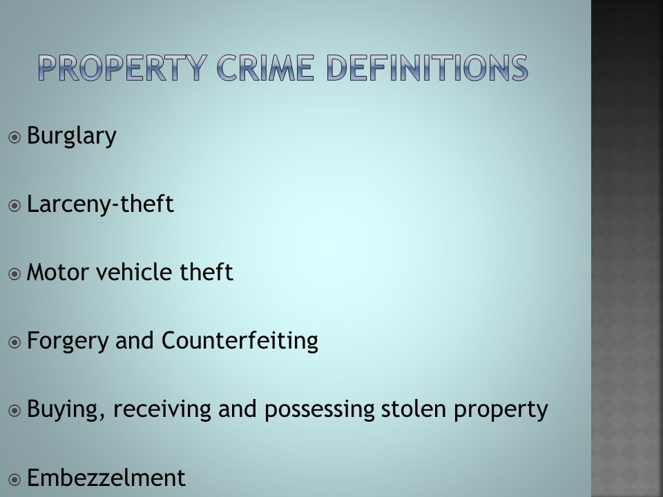 Property Crime definitions