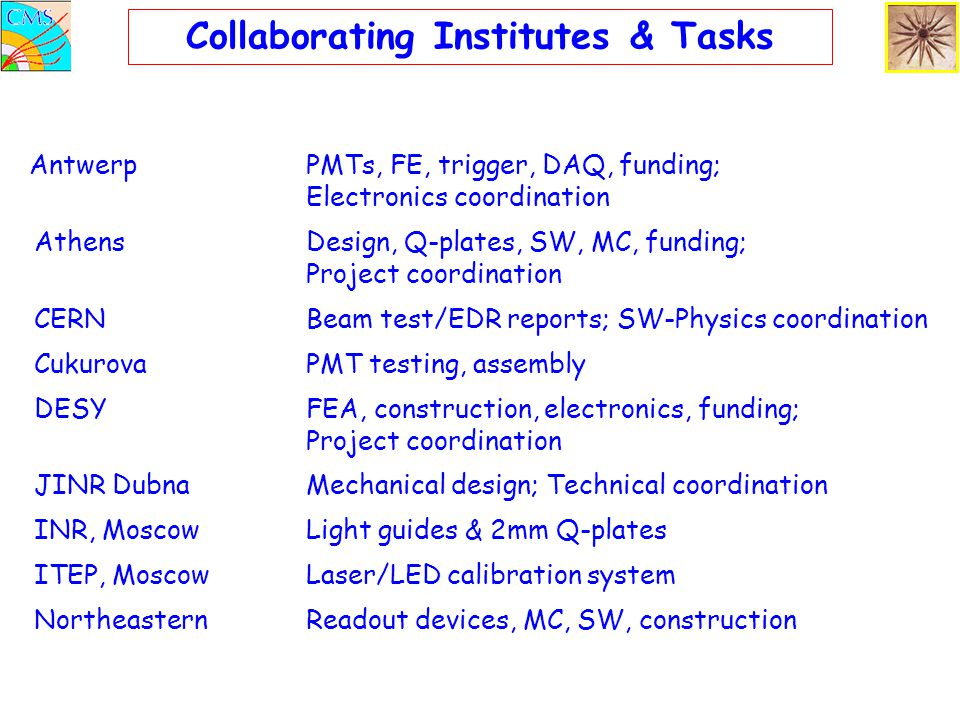 Collaborating Institutes & Tasks