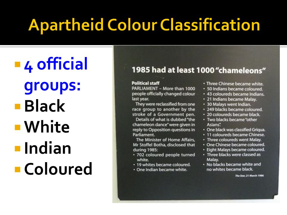 Apartheid Colour Classification