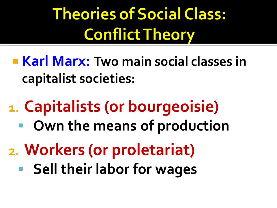 Theories of Social Class: Conflict Theory