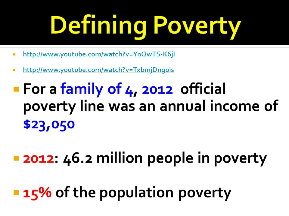 Defining Poverty http://www.youtube.com/watch v=YnQwTS-K6jI. http://www.youtube.com/watch v=TxbmjDngois.