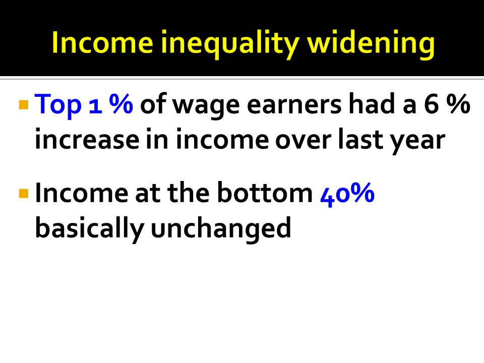 Income inequality widening