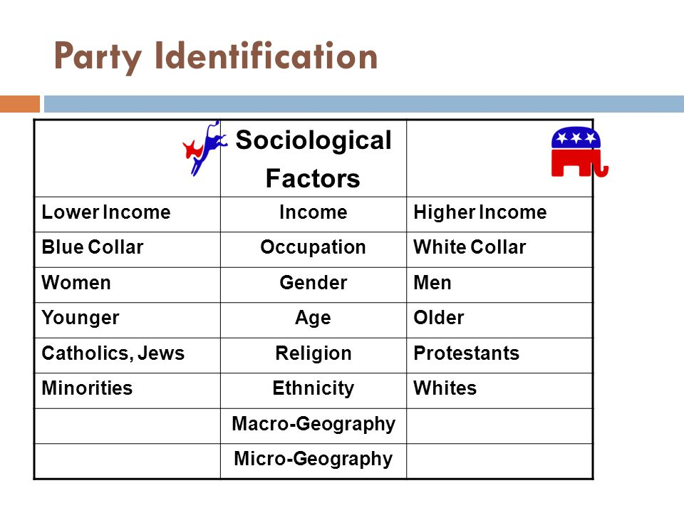 Party Identification Sociological Factors Lower Income Income