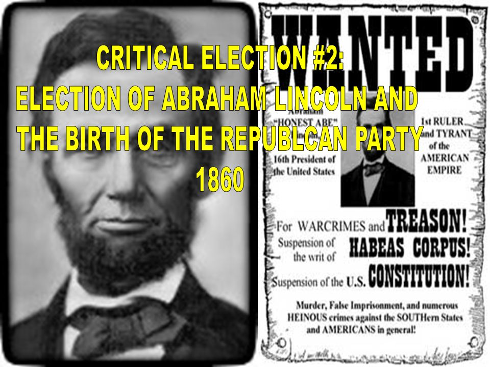 ELECTION OF ABRAHAM LINCOLN AND THE BIRTH OF THE REPUBLCAN PARTY 1860